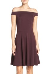 Eci Women's Off The Shoulder Knit Fit And Flare Dress Burgundy