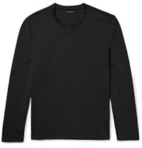 Club Monaco Cotton Blend Jersey Henley T Shirt Black