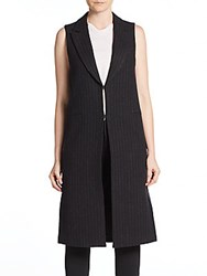 Alice Olivia Simone Pinstriped Wool And Cotton Vest Black