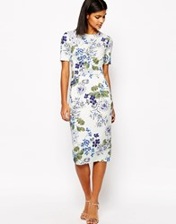 Asos Structured Wiggle Dress In Botanical Floral Multi