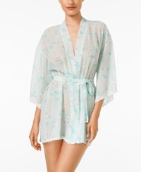 Flora By Flora Nikrooz Imagine Printed Chiffon Kimono Robe Spa Blue