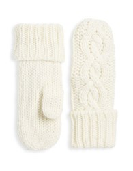 Rella Insulated Wool Blend Cableknit Mittens Natural
