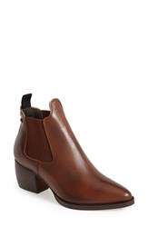 Women's Topshop 'Margot' Leather Ankle Bootie Tan
