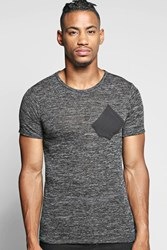 Boohoo Dye Knitted T Shirt With Contrast Pocket Black