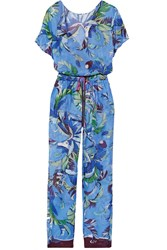Emilio Pucci Printed Cotton Voile Jumpsuit Blue