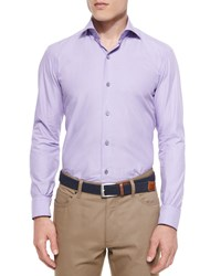 Ermenegildo Zegna Solid Chambray Sport Shirt Purple