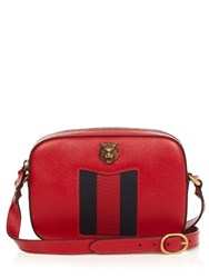 Gucci Animalier Grained Leather Cross Body Bag Red