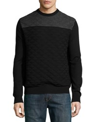 Neiman Marcus Colorblock Jacquard Crewneck Sweater Black