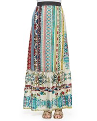 Johnny Was Nova Printed Silk Tiered Maxi Skirt Multi