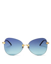 Wildfox Couture Madame Rimless Oversized Sunglasses 61Mm Gold Blue Gradiant