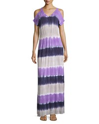 Neiman Marcus Cold Shoulder Tie Dye Maxi Dress Women's