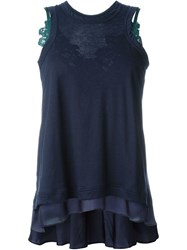 Sacai Lace Detail Tank Top Blue