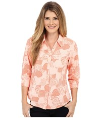 Royal Robbins Expedition Stretch 3 4 Sleeve Print Top Light Cantaloupe Women's Long Sleeve Button Up Yellow