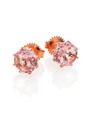 Suzanne Kalan Rose De France And 14K Rose Gold Round Stud Earrings Rose Gold Pink