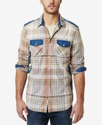 Buffalo David Bitton Men's Plaid Contrast Trim Long Sleeve Shirt Pool