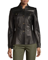 Lafayette 148 New York Military Leather Snap Front Jacket Black