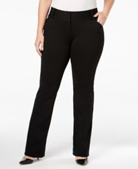 Alfani Plus Size Tummy Control Piped Pocket Trousers Only At Macy's Deep Black