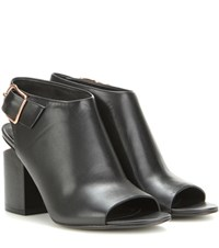 Alexander Wang Nadia Leather Peep Toe Ankle Boots Black