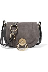 Diane Von Furstenberg Love Power Textured Leather And Suede Shoulder Bag Gray