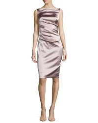 Talbot Runhof Dowina Sleeveless Ruched Satin Cocktail Dress Marble