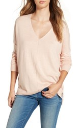 Leith Women's V Neck Sweater Pink Tan Heather