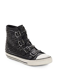 Ash Vice Studded Leather High Top Sneakers Black