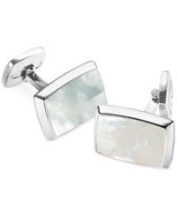 M Clip Mother Of Pearl Rectangle Cufflinks White