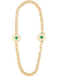 Yves Saint Laurent Vintage Flower Chain Necklace Metallic