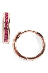 Anna Sheffield 'Licol' Ruby Hoop Earrings Rose Ruby