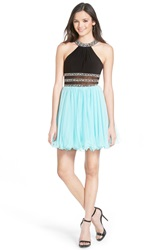 Blondie Nites Embellished Halter Skater Dress Blue Mint