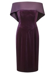 Jacques Vert Satin Back Neck Dress Dark Purple