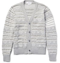 Thom Browne Intarsia Cotton Wool And Mohair Blend Cardigan Gray
