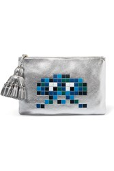 Anya Hindmarch Georgiana Embossed Metallic Textured Leather Pouch Silver