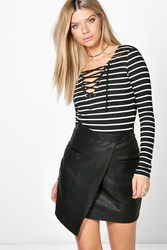 Boohoo Rib Striped Lace Up T Shirt Black