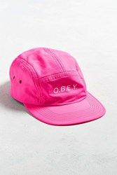 Obey Contorted 5 Panel Hat Pink