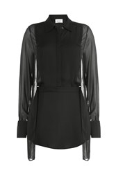 Dkny Sheer Panel Blouse Black