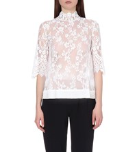 Claudie Pierlot Birthday Lace Embroidered Tulle Top Blanc