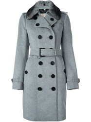 Burberry Double Breasted Fur Collar Coat Grey