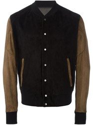 Drome Mixed Material Bomber Jacket Black