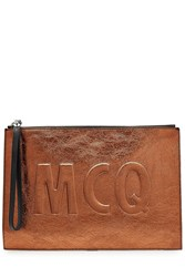 Mcq By Alexander Mcqueen Metallic Leather Clutch Red