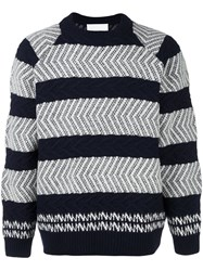 White Mountaineering Textured Stripe Jumper Blue