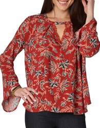 Democracy Floral Keyhole Top Red