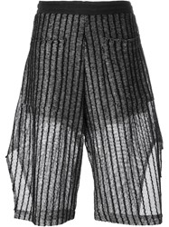 Lost And Found Striped Knitted Shorts Black