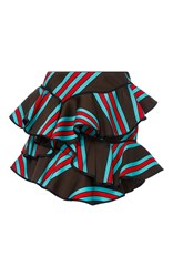Cynthia Rowley Multi Ruffle Mini Skirt Brown Blue Red