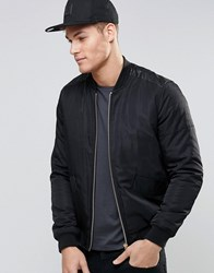 Asos Bomber Jacket With Faux Leather Detailling In Black Black