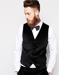 Noose And Monkey Double Breasted Waistcoat In Velvet Black