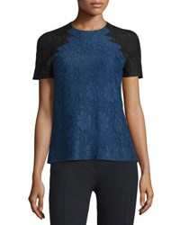Christopher Kane Floral Lace Top W Contrast Sleeves Navy