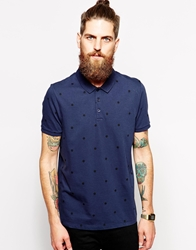 Asos Polo Shirt With Large Polka Dot Print Navy
