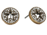 Marc Jacobs Pave Star Studs Earrings Crystal Antique Gold Earring Clear