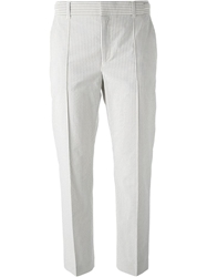 Paul By Paul Smith Cropped Striped Trousers Grey